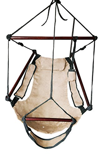 SueSport New Deluxe Hanging Sky Air Chair Swing Hammock Chair W/ Pillow and Drink Holder - Tan - Deluxe Hammock Pillow