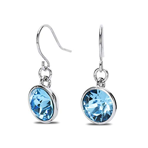UPSERA Blue Drop Dangle Earrings for Women Girls Crystals from Swarovski Silver Tone Plated Earrings Jewelry (Swarovski Earrings For Girls)