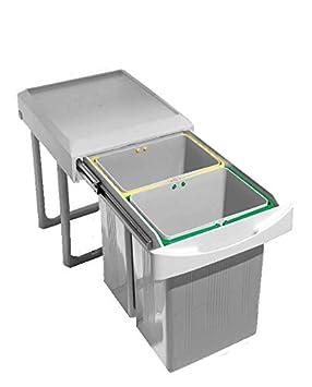 Mülleimer Küche Unterschrank ausziehbar 2 getrennte Eimer: Amazon.de ...