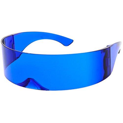 Futuristic Robot Costume (sunglassLA - Futuristic Shield Sunglasses Wide Arms Color Tinted Mono Lens 75mm (Blue))