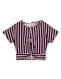 Miss Majesty Girls' Striped Twist Top with Necklace