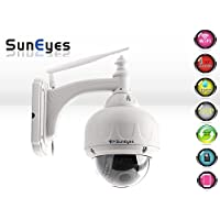 SunEyes SP-V706W Wireless PTZ Dome IP Camera Outdoor 720P HD with 2.8-12mm Optical Zoom Auto Focus 1/3 Sensor Low Lux IR Night