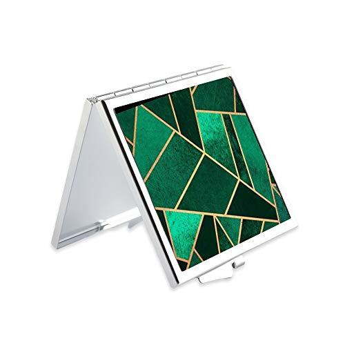 Makeup Mirror for Women Girls Emerald Marble Pattern Design Light Portable -