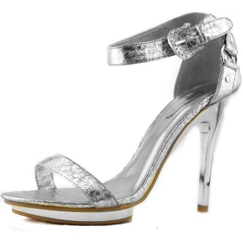 Femmes Haut Talon Plate-forme Ouverte Peep Toe Cheville Sangle Boucle Robe De Soirée Sandales Mode Chaussures Argent