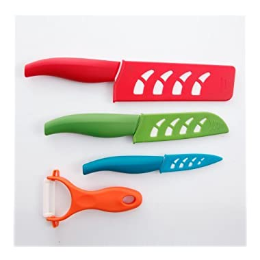 Gibson Elite Mullins Ceramic Knife Set (7 Pieces), Assorted Colors