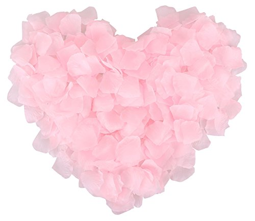 1000 Pcs Wedding Silk Rose Petals for Party Decoration, Light (Light Pink And Gold)