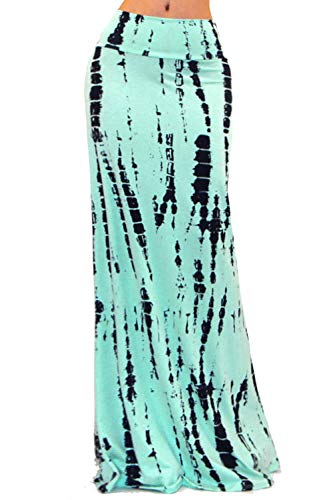 Vivicastle Women's Colorful Tie Dye Acid Washed High Waist Foldover Maxi Skirt (Large, G41, ()