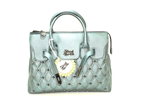 Borsa secret pon pon trapuntata con borchie verde media new collection (K)