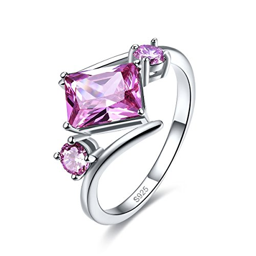 Merthus Womens 925 Sterling Silver Created Pink Topaz Bypass Geometric Shaped Ring - Wide Split Shank Ring