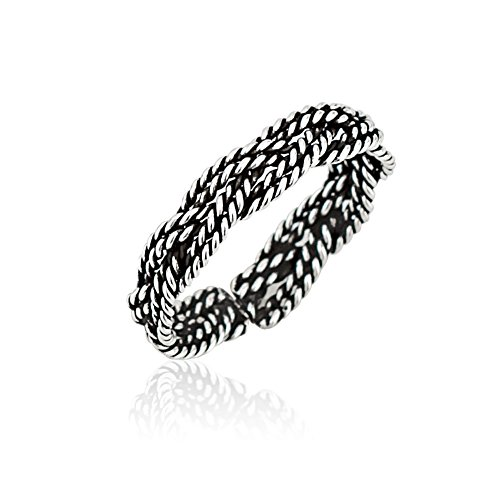Sterling Silver Life Braided Ring - Chuvora 925 Sterling Silver Modern Minimalist Braided Woven Twisted Rope Style Band Open Ended Toe Ring, 3mm