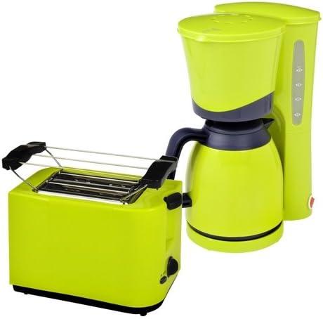 Efbe-Schott Juego de desayuno to 5000 + KA 520.1 de 2 discos Tostadora y cafetera de 8 tazas térmicas, Lemone verde: Amazon.es: Hogar