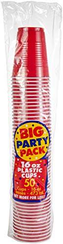 Apple Red Plastic Cups Big Party Pack, 16 Oz., 20 Ct. ()