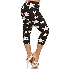 - 41CfRxHUOmL - Leggings Depot Women's Plus Size High Waisted Capri Print Leggings