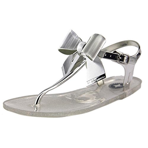 BCBGeneration Womens Beena2-x Open Toe Casual T-Strap Sandals Silver yzOxUF