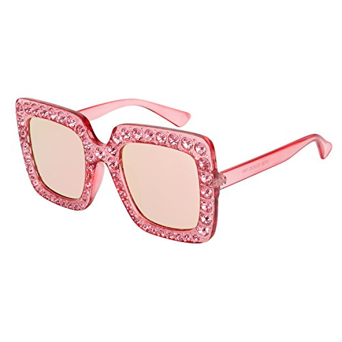 ROYAL GIRL Sunglasses Women Oversized Square Crystal Brand Designer Shades Pink Mirrored - Sunglasses Shades Ladies