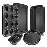Bakeware Set 6-Pieces Carbon Steel Nonstick Baking Pans Oven Baking Set with Cookie Sheet, 12-Cup Muffin Pan, Loaf Pan, 2 Round Cake Pans, Roasting Pan, Kitchen Baking Tools