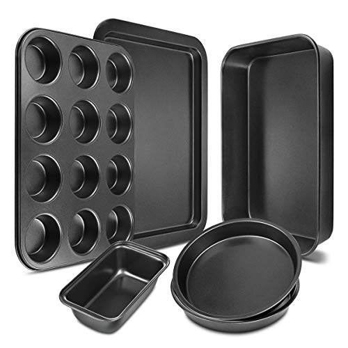 Bakeware Set 6-Pieces Carbon Steel Nonstick Baking Pans Oven Baking Set with...