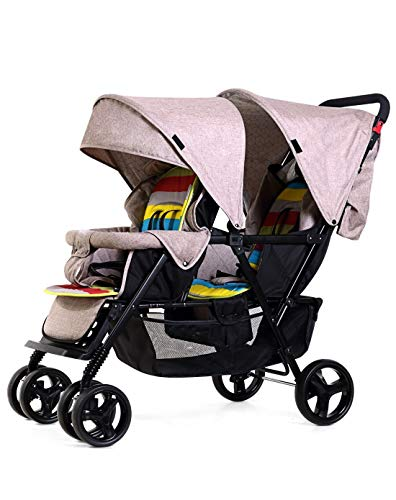 Double Stroller for Baby and Toddler-Tandem Duo Connect Strollers (Color : Natural)