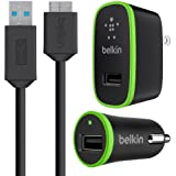 Belkin SuperSpeed Charger Kit with Micro USB 3.0 Cable, Compatible with Samsung Galaxy Note 3, Galaxy S5, Galaxy Note Pro 12.1, Galaxy Tab Pro 12.1 (F8M866tt03-BLK)