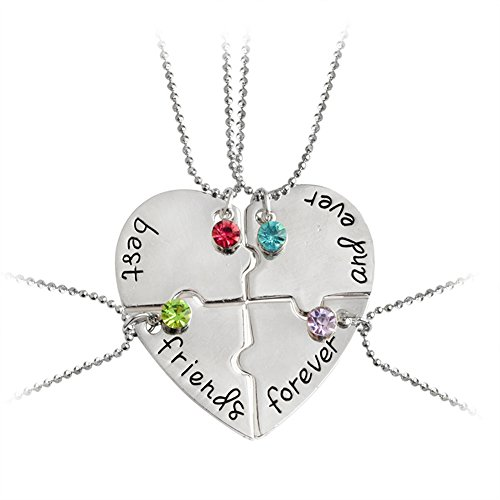 Glimkis Best Friend Forever and Ever 4 Pieces Rhinestone BFF Necklace Heart Shape Pendant Friendship Puzzle Stitching Necklace (Four Best Friend Necklaces)
