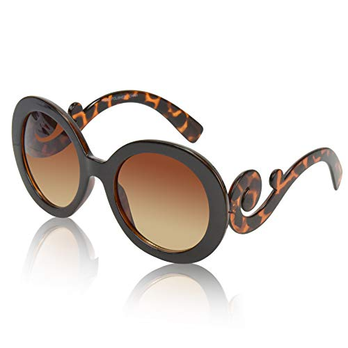 Chic Swirl - Round Sunglasses For Women Fashion Glasses Trendy Circular Baroque Eyewear Brown