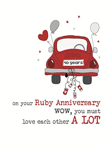 - 40th Ruby Anniversary Sparkle Finished Greeting Card by Dandelion Stationery