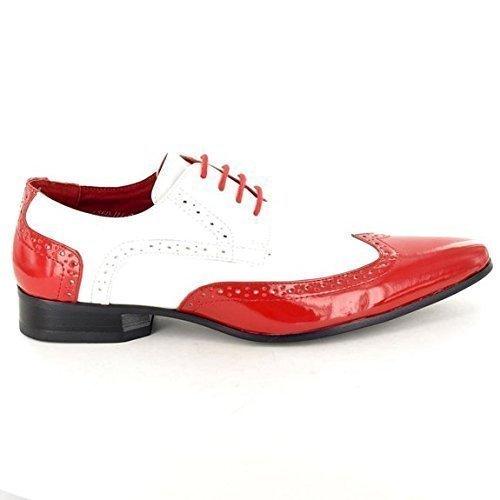 Rossellini Herren Jungen Schuhe Formell Party Brogue rot und weiß