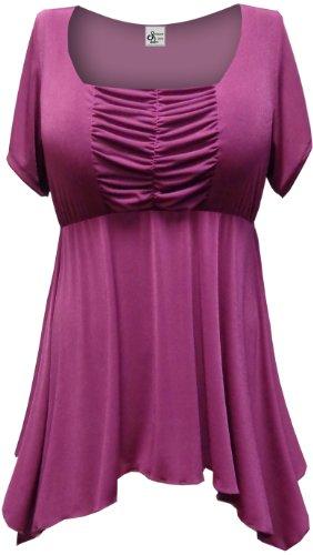 Sanctuarie Designs Women's /2X/ Magenta Slinky Babydoll Plus Supersize Extra Long T Shirt/ 2X /Magenta /50