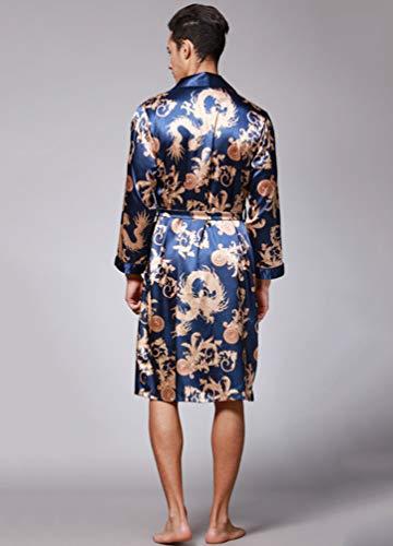 Blu Da Raso Reale Pigiama Accappatoi Vestaglia Notte Kimono Di Maschile Manica Wanyangg Lusso Drago Elegante Vestaglie Lunga Uomo Stampa wqSCIxTR