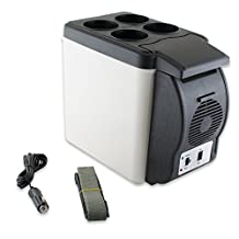 Enshey 12V Electric Cooler and Warmer 12-V Car Mini Fridge Electric Car Refrigerator Cooler and Food Warmer Portable Thermoelectric System -6L Capacity for Home, Office, Truck Camping, Car or Boat