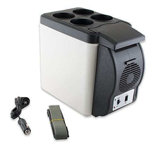 Price comparison product image Enshey 12V Electric Cooler and Warmer 12-V Car Mini Fridge Electric Car Refrigerator Cooler and Food Warmer Portable Thermoelectric System -6L Capacity for Home, Office, Truck Camping, Car or Boat