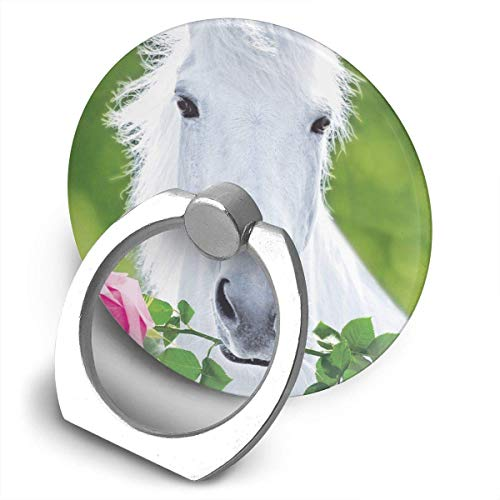 White Horse with Flower Finger Stand 360 Degree Stand for Smartphone Tablet and Car
