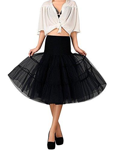 FOLOBE 50s Jupe en jupe Tutu Crinoline Underskirt Ballet d'adulte Ballet Tutu Mini-jupe en dentelle en organza 65cm / 25.6inch Noir