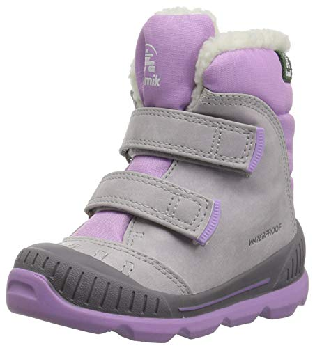(Kamik Girls' PARKER2 Snow Boot, Light Grey, 3 Medium US Little Kid)