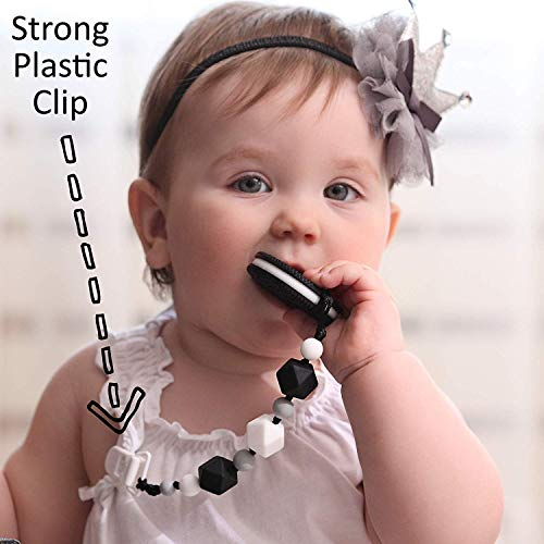 Teething Toys for Babies 6-12 Months – BPA Free Silicone – Cute and Highly Effective Cookie Teether with Pacifier Clip…