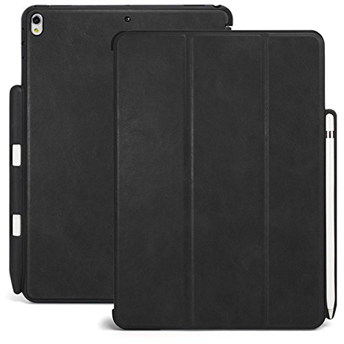 KHOMO iPad Pro 10.5 Inch Case with Pen Holder - Dual Black PU Leather Super Slim Cover with Rubberized Back and Smart Feature (Sleep/Wake) for Apple iPad Pro 10.5 Inches Tablet (Case Super Jewel Slim)