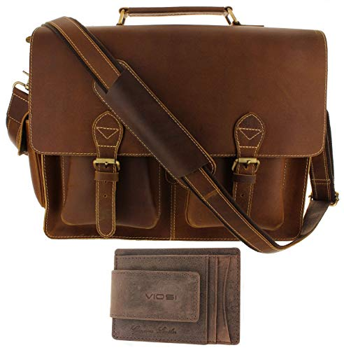 Leather Messenger Bag Mens RFID 16 Inch Laptop Briefcase Shoulder Satchel Bag