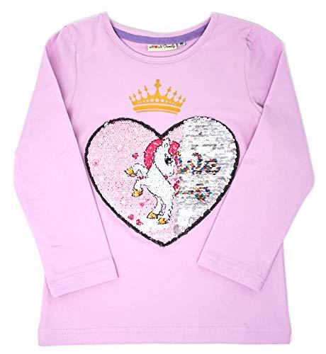Unicorn Flip Heart Sequin Girl's T-Shirt Short/Long Sleeve 3-12 Years (6, Long Brave Shirt) ()