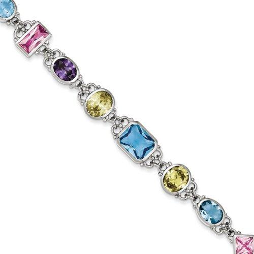 Icecarats Créatrice De Bijoux En Argent Sterling 7.5Inch Cz Multicolores Bracelet En 7,5 Pouces