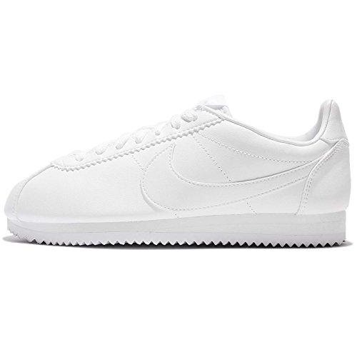 Nike Womens Classic Cortez White Leather Sneakers Trainers (Large Image)