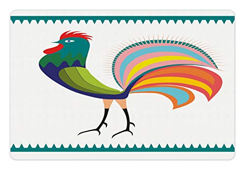 (Ambesonne Folk Art Pet Mat for Food and Water, Colorful Design Rooster Side View Traditional Polish Motif Folkloric Illustration, Rectangle Non-Slip Rubber Mat for Dogs and Cats, Multicolor)