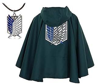 Amazon.com: BlueField Attack on Titan Anime Shingeki No Kyojin Cloak Cape Cosplay with Nacklace ...