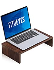 FITUEYES Computer Monitor Stand Wood PC/Laptop/TV Screen Riser Desk for Home Office and School 42.5x23.5x10cm Walnut Brown DT104203WB