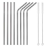 YIHONG Juego de 8 pajitas de metal de acero inoxidable Ultra largas Pajitas reutilizables de 10.5 pulgadas para vasos Rumblers Bebidas frías (4 rectas | 4 dobladas | 2 cepillos)