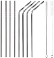 YIHONG Set of 8 Reusable Stainless Steel Metal Straws- Ultra Long 10.5 Inch- Regular Size 6 mm Wide - 30oz Tumblers...