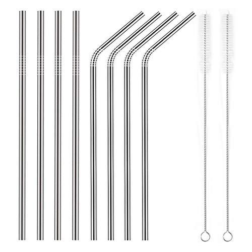 YIHONG Juego de 8 pajitas de metal de acero inoxidable Ultra largas Pajitas reutilizables de 10.5 pulgadas para vasos Rumblers Bebidas frías (4 rectas   4 dobladas   2 cepillos)