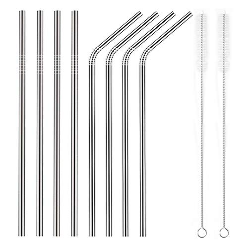 YIHONG Set of 8 Stainless Steel Metal Straws Ultra Long 10.5 Inch Reusable Straws For 30oz Tumblers Cold Beverage (4 Straight| 4 Bent| 2 Brushes| 1 Pouch)