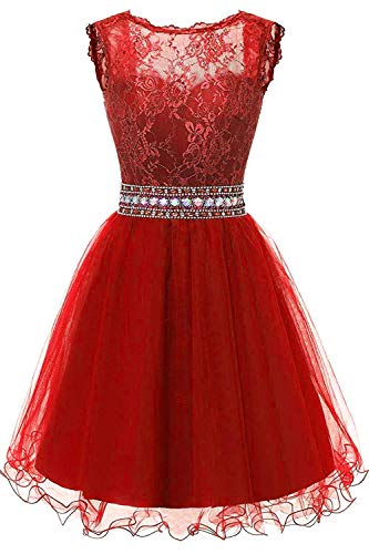 onlinedress Homecoming Dress Lace Beaded Prom Cocktail Dress Junior's Crystal Bridesmaid Gown Short