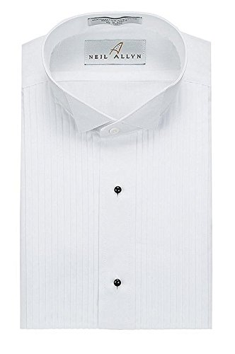 Neil Allyn Mens Tuxedo Shirt Poly/Cotton Wing Collar 1/4 Inch Pleat (15.5 - 32/33),White