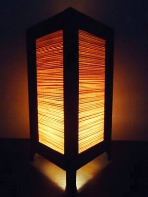 Thai Vintage Handmade ASIAN Oriental Design Cream Bamboo Bedside Floor or Table Lamp Lighthing Wood by T